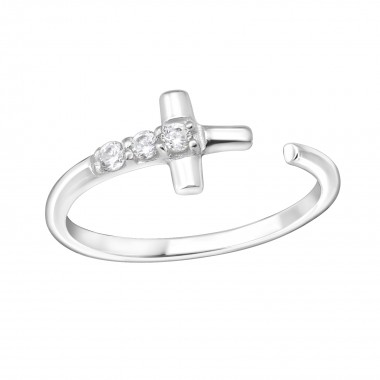Cross - 925 Sterling Silver Rings with CZ SD15063
