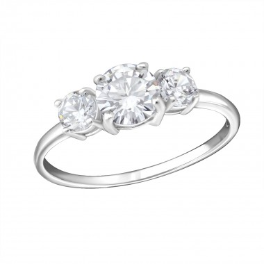 Round - 925 Sterling Silver Rings with CZ SD15441