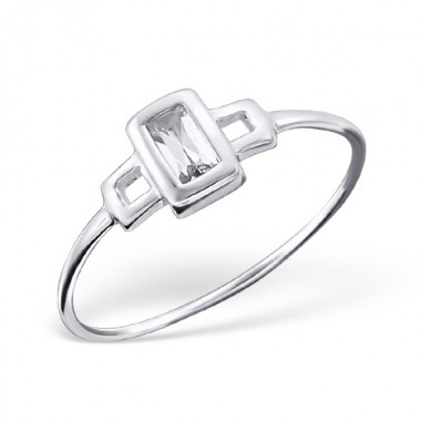 Rectangle - 925 Sterling Silver Rings with CZ SD16344