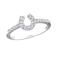 Horse shoe - 925 Sterling Silver Rings with CZ SD18954