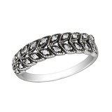 Patterned - 925 Sterling Silver Rings with CZ SD30152