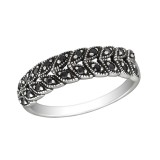 Patterned - 925 Sterling Silver Rings with CZ SD30153