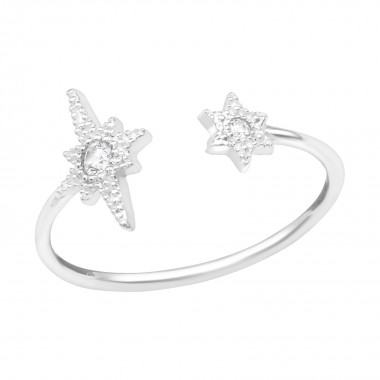 Open Star - 925 Sterling Silver Rings with CZ SD39434