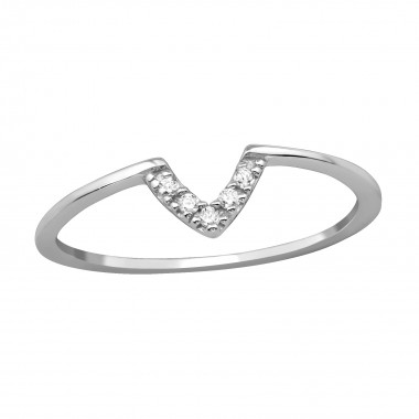 V Shaped - 925 Sterling Silver Rings with CZ SD39777