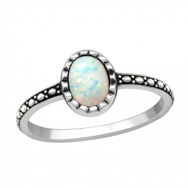 Silver Oval Ring With Fire Snow - 925 Sterling Silver Rings with CZ SD40649