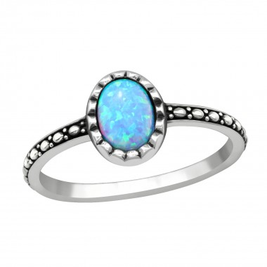 Silver Oval Ring With Azure - 925 Sterling Silver Rings with CZ SD40661