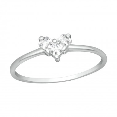 Heart - 925 Sterling Silver Rings with CZ SD41716