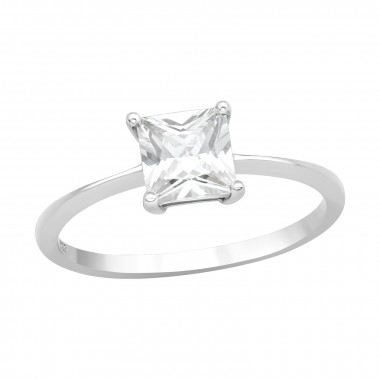 Square - 925 Sterling Silver Rings with CZ SD42111