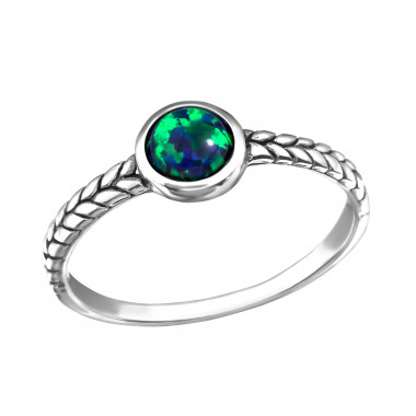 Oxidized - 925 Sterling Silver Rings with CZ SD42455