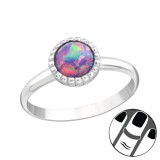 Round Synthetic Opal - 925 Sterling Silver Midi Rings SD23591