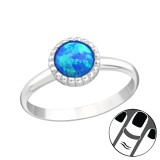 Round Synthetic Opal - 925 Sterling Silver Midi Rings SD23593
