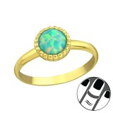 Round Synthetic Opal - 925 Sterling Silver Midi Rings SD23598