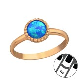 Round Synthetic Opal - 925 Sterling Silver Midi Rings SD23609