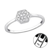 Hexagon - 925 Sterling Silver Midi Rings SD34026