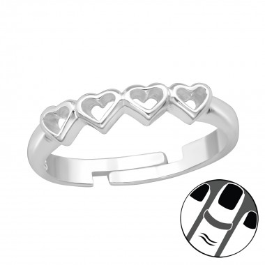 Heart Link - 925 Sterling Silver Midi Rings SD39658