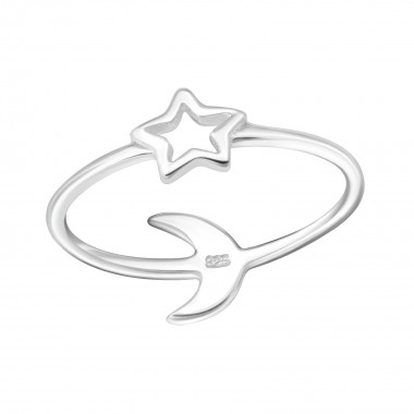 Star And Moon - 925 Sterling Silver Simple Rings SD24615