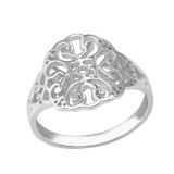 Patterned - 925 Sterling Silver Simple Rings SD37988