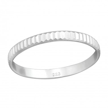 Pattened - 925 Sterling Silver Simple Rings SD38362