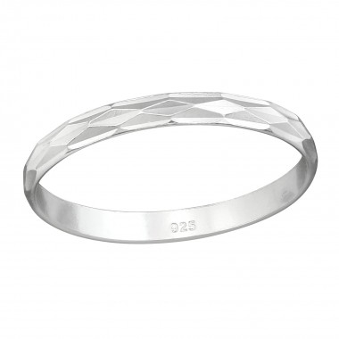 Pattened - 925 Sterling Silver Simple Rings SD38363