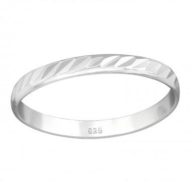 Pattened - 925 Sterling Silver Simple Rings SD38364
