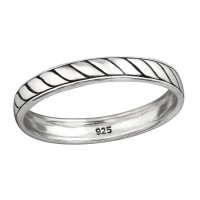 Rope - 925 Sterling Silver Simple Rings SD38481