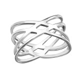 Intertwining - 925 Sterling Silver Simple Rings SD38518