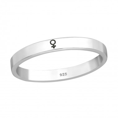 Female Symbol - 925 Sterling Silver Simple Rings SD39780