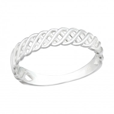 Intertwining - 925 Sterling Silver Simple Rings SD40462