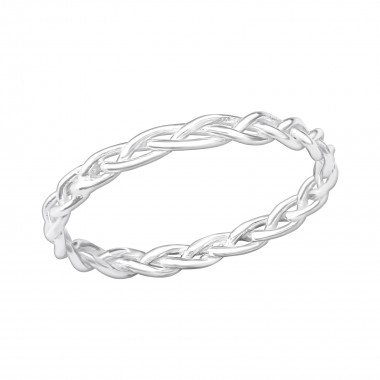 Silver Braided Ring - 925 Sterling Silver Simple Rings SD40664