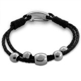 Beaded - Leather Cord Men Steel Bracelet SD13677