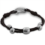 Beaded - Leather Cord Men Steel Bracelet SD13678