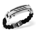 Tag - Leather Cord Men Steel Bracelet SD1884