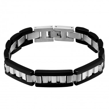 Black wide - 316L Surgical Grade Stainless Steel Men Steel Bracelet SD2519
