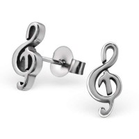 Music clef - 316L Surgical Grade Stainless Steel Stainless Steel Ear studs SD5839