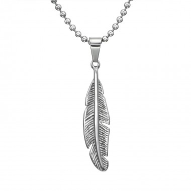 Feather - 316L Surgical Grade Stainless Steel Stainless Steel Necklace SD31627