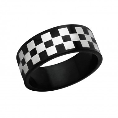 Checkered - 316L Surgical Grade Stainless Steel Steel Rings SD1222