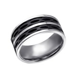 Black Striped - 316L Surgical Grade Stainless Steel Steel Rings SD22793