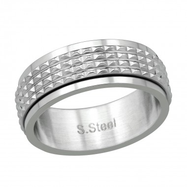 High Polish Surgical Steel Patterned Spinner Ring - 316L Surgical Grade Stainless Steel Steel Rings SD38556