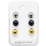 8Mm Ball - 316L Surgical Grade Stainless Steel Steel Jewelry Sets SD28528