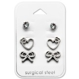 Heart And Bow - 316L Surgical Grade Stainless Steel Steel Jewelry Sets SD28533