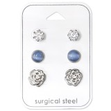 Rose - 316L Surgical Grade Stainless Steel Steel Jewelry Sets SD34508