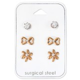 Flower - 316L Surgical Grade Stainless Steel Steel Jewelry Sets SD34514