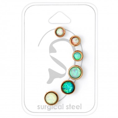 Opal - 316L Surgical Grade Stainless Steel Steel Jewelry Sets SD34520