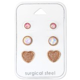 Heart - 316L Surgical Grade Stainless Steel Steel Jewelry Sets SD34517