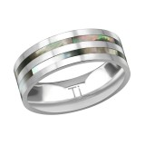 Titanium Double Line Ring With Abalone Shell - Titanium Titanium Rings SD38558