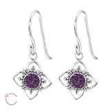Flower - 925 Sterling Silver Swarovski Earrings SD24398
