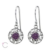 Round - 925 Sterling Silver Swarovski Earrings SD24410