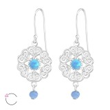Flower - 925 Sterling Silver Swarovski Earrings SD36810