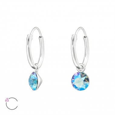 Hanging Round - 925 Sterling Silver Swarovski Earrings SD39328