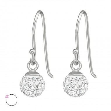 Crystal Ball - 925 Sterling Silver Swarovski Earrings SD39587